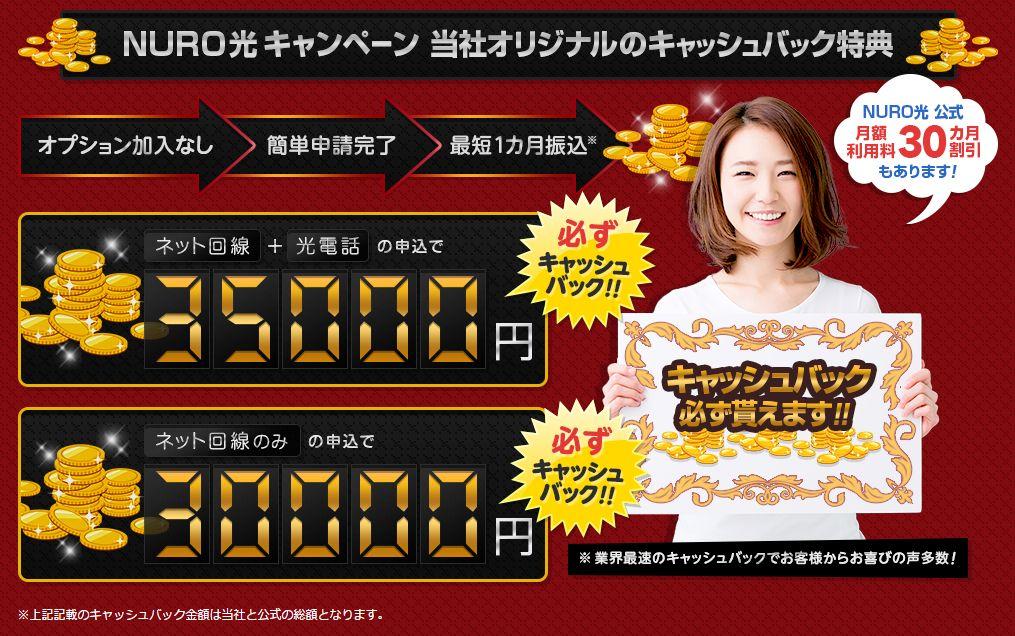 NURO光販売代理店アウンカンパニーキャッシュバックキャンペーン