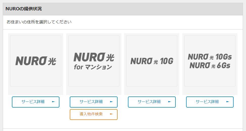 NURO光サービス提供状況