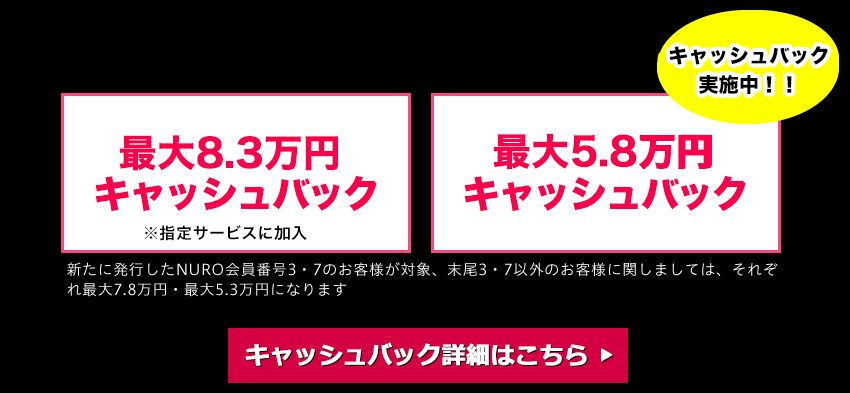 スローダイニング「NURO光最大83,000円キャッシュバック」