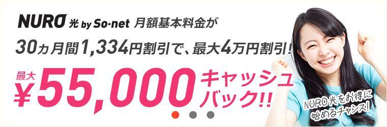ブロードバンドナビ「NURO光最大55,000円キャッシュバック」