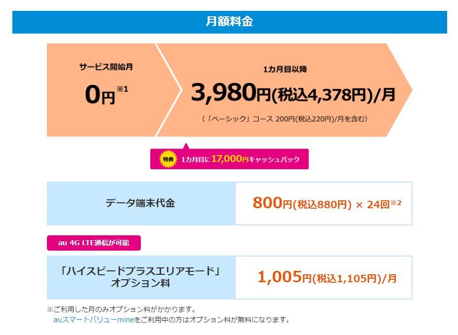 BIGLOBE WiMAX新プラン「ギガ放題(1年)」クレジットカード払いの料金体系