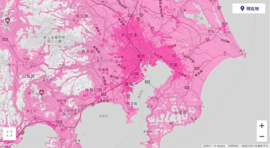楽天モバイルエリアマップ(関東地区)